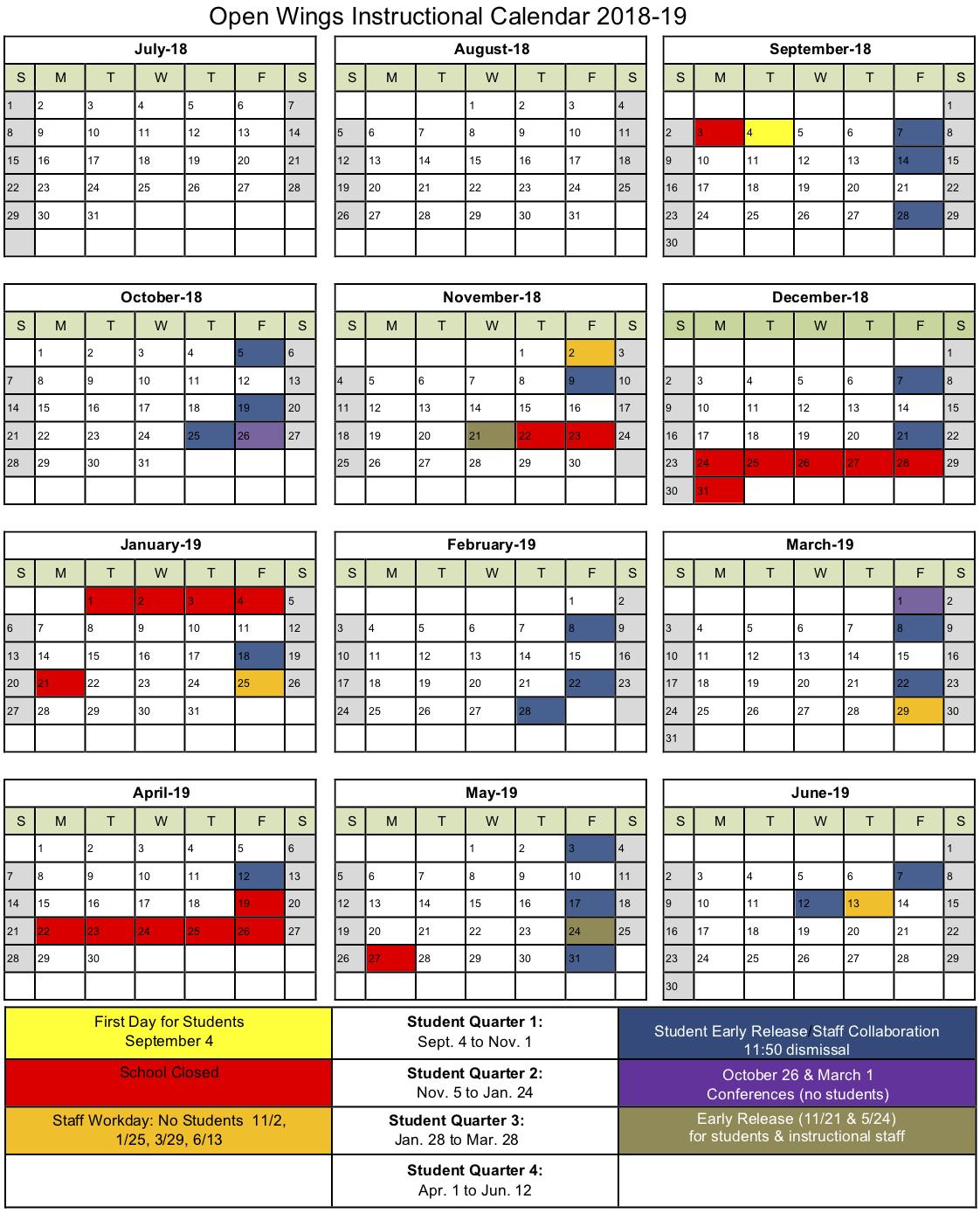 2018 to 2019 Calendar